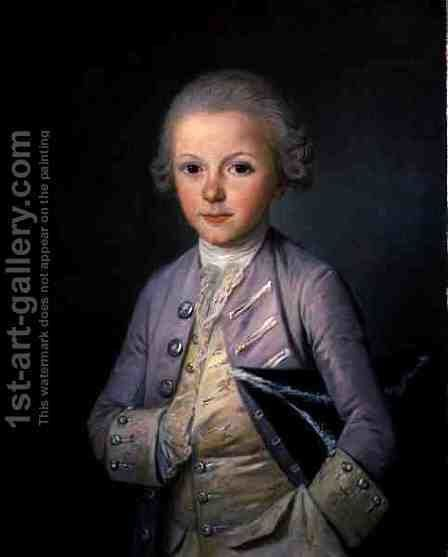 A Portrait of a Young Boy holding a hat beneath his arm by Jean Francois Colson - Reproduction Oil Painting