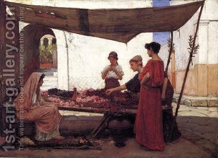 A Flower Stall 1880 by Waterhouse - Reproduction Oil Painting