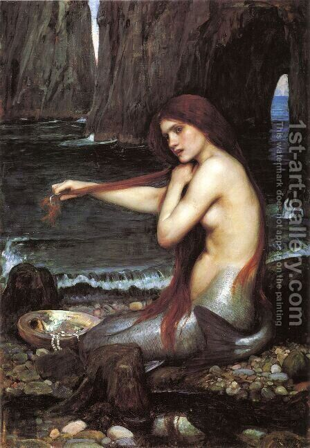 A Mermaid  1900 by Waterhouse - Reproduction Oil Painting
