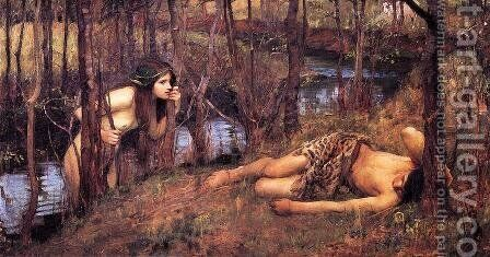 A Naiad  1893  also known as Hylas with a Nymph by Waterhouse - Reproduction Oil Painting