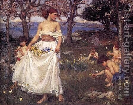 A Song of Springtime  1913 by Waterhouse - Reproduction Oil Painting
