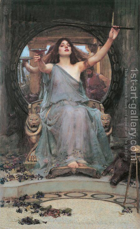 Circe Offering the Cup to Ulysses  1891 by Waterhouse - Reproduction Oil Painting