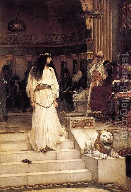 Mariamne leaving the Judgement Seat of Herod  1887 by Waterhouse - Reproduction Oil Painting