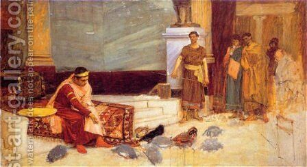 The Favourites of the Emperor Honorius study  1883 by Waterhouse - Reproduction Oil Painting