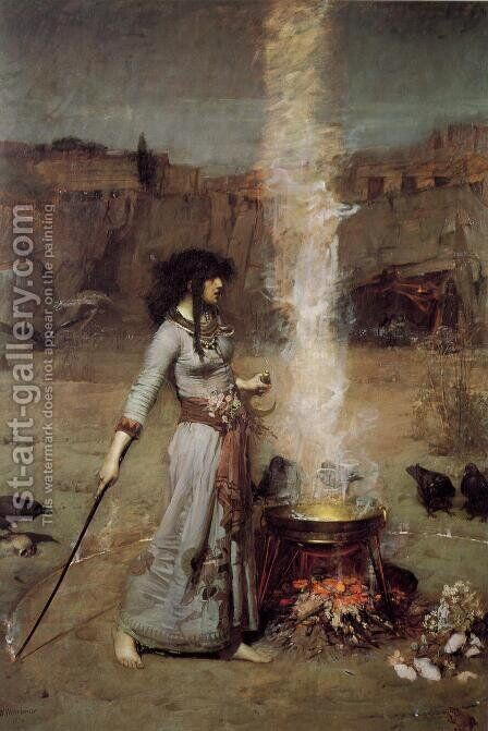 The Magic Circle  1886 by Waterhouse - Reproduction Oil Painting