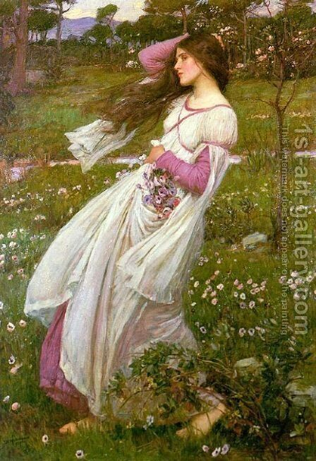 Windflowers  1903 by Waterhouse - Reproduction Oil Painting
