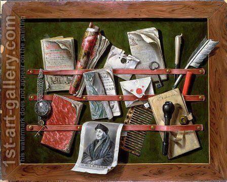 Trompe l'oeil letter rack with a print of an old man, 1703 by Edwart Collier - Reproduction Oil Painting