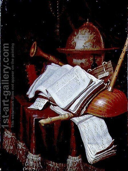 Vanitas with a globe, musical scores and instruments, 1692 by Edwart Collier - Reproduction Oil Painting
