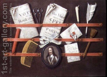 Letter rack with documents and miniature of Charles I by Edwart Collier - Reproduction Oil Painting