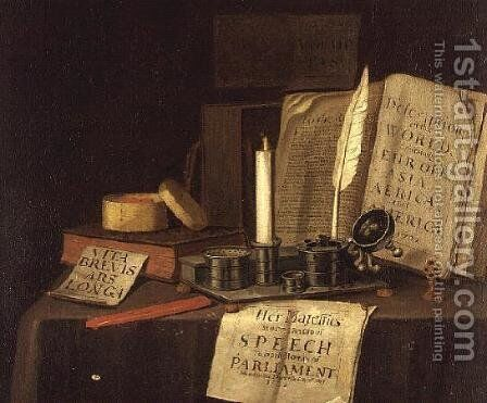 Still Life with Inkstand and Books, 1702 by Edwart Collier - Reproduction Oil Painting