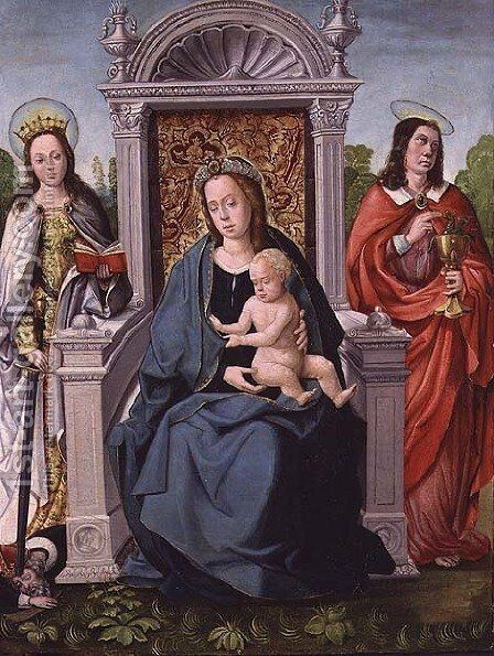 Madonna and Child with St. Catherine and St. John the Evangelist, c.1530-40 by (attr. to) Comontes, Francisco de - Reproduction Oil Painting