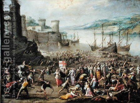 The Martyrdom of St. Ursula by (attr. to) Compagno, Scipione - Reproduction Oil Painting