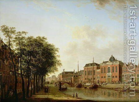 The Houtegracht, now the Jonas Daniel Meijerplein, Amsterdam, with the Ashkenazi Synagogues, the Arsenal, the Portuguese Synagogue and Sailing Barges by Jan ten Compe - Reproduction Oil Painting