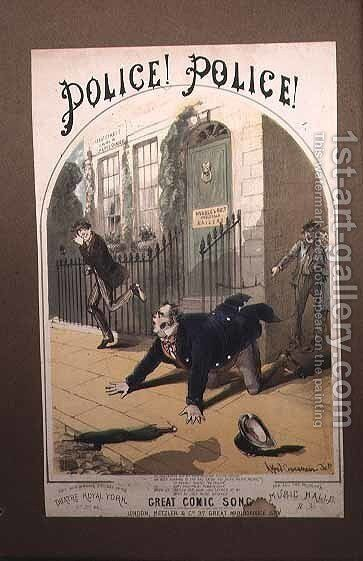 Police! Police! Song Book Cover, c.1865 by Alfred Concanen - Reproduction Oil Painting