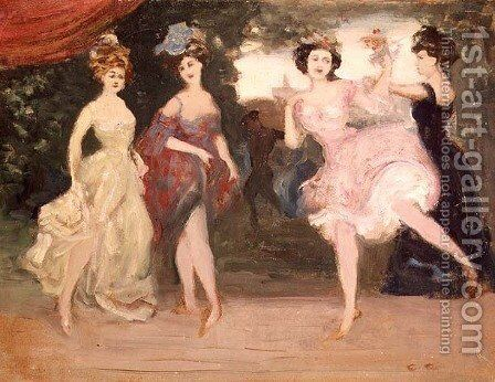Four Dancing Girls on the Stage by Charles Edward Conder - Reproduction Oil Painting