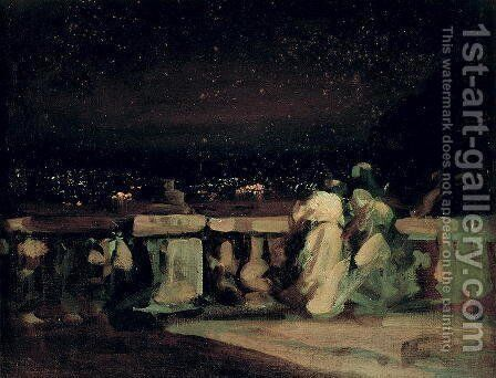 Watching the Fireworks, St. Cloud (on the Terrace) c.1893 by Charles Edward Conder - Reproduction Oil Painting
