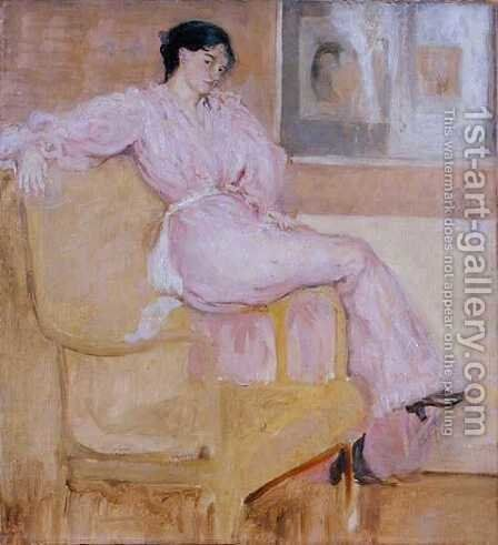 Mrs Conder in Pink by Charles Edward Conder - Reproduction Oil Painting