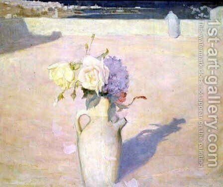 Flowers in a Vase against a background of Mustapha, Algiers, 1891 by Charles Edward Conder - Reproduction Oil Painting