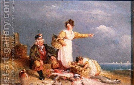 Fisherfolk with the Catch by Nicholas Condy - Reproduction Oil Painting