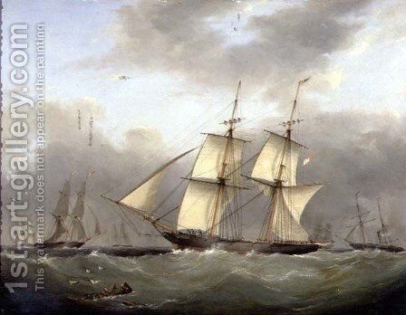 H.M. Brig Daring by Nicholas Condy - Reproduction Oil Painting