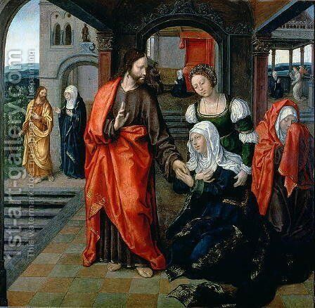 Christ taking Leave of his Mother by Jan van II Coninxloo - Reproduction Oil Painting