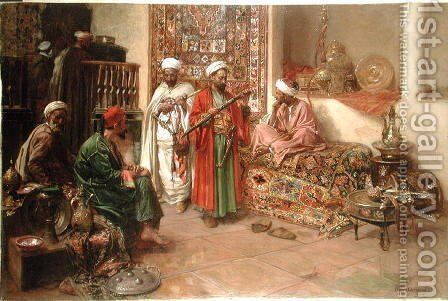 Arabs in an Interior by Benjamin Jean Joseph Constant - Reproduction Oil Painting
