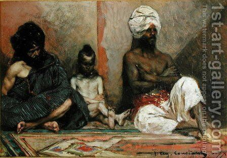 Seated Arabs, 1877 by Benjamin Jean Joseph Constant - Reproduction Oil Painting