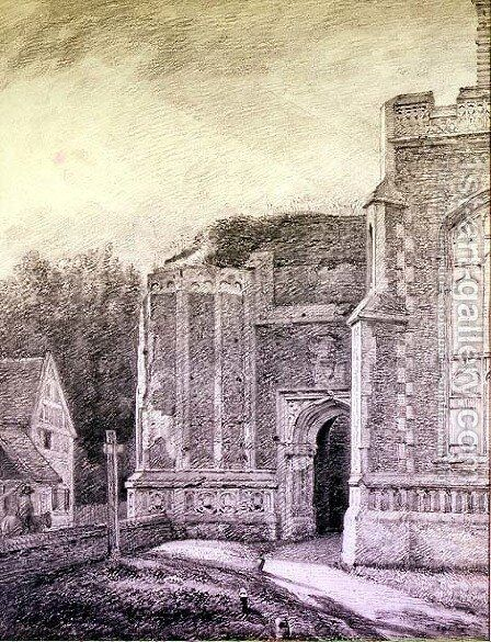 South Archway of the ruined tower of East Bergholt Church by John Constable - Reproduction Oil Painting
