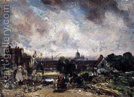 City of London from Sir Richard Steeles Cottage with the Mail Coach on the Road by John Constable - Reproduction Oil Painting