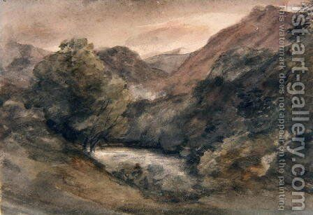 Borrowdale, Evening after a Fine Day, October 1, 1806 by John Constable - Reproduction Oil Painting
