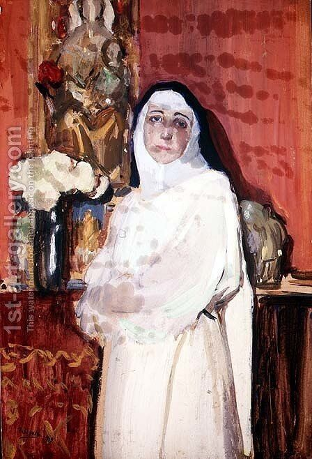 Nun in an interior by Joaquin Sorolla y Bastida - Reproduction Oil Painting