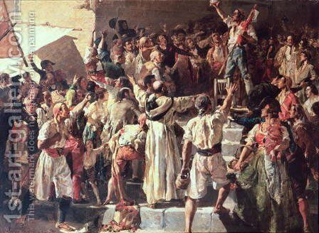 The Cry of the Palleter declaring was on Napoleon, 1884 by Joaquin Sorolla y Bastida - Reproduction Oil Painting
