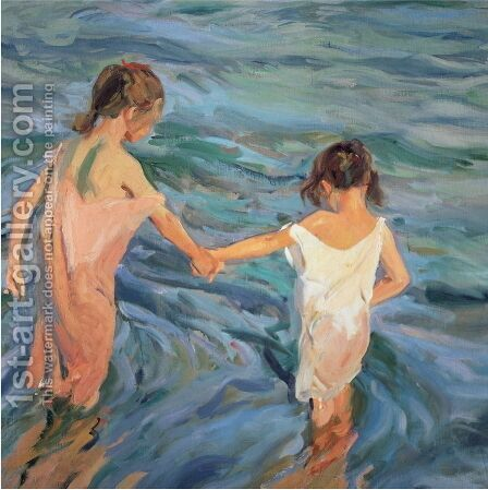 Children in the Sea, 1909 by Joaquin Sorolla y Bastida - Reproduction Oil Painting
