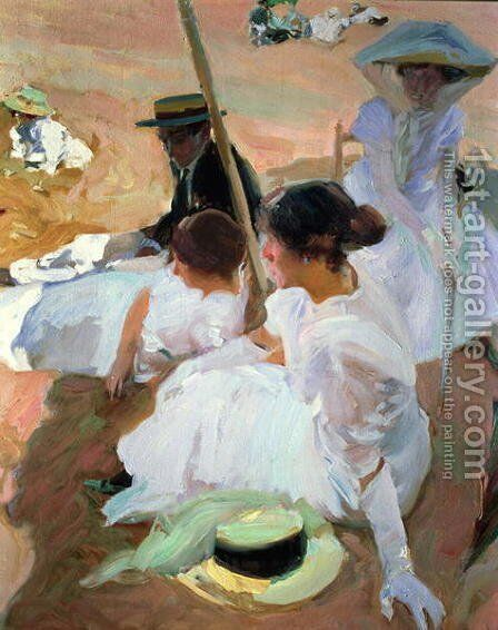 Under the Parasol  Zarauz  1910 by Joaquin Sorolla y Bastida - Reproduction Oil Painting