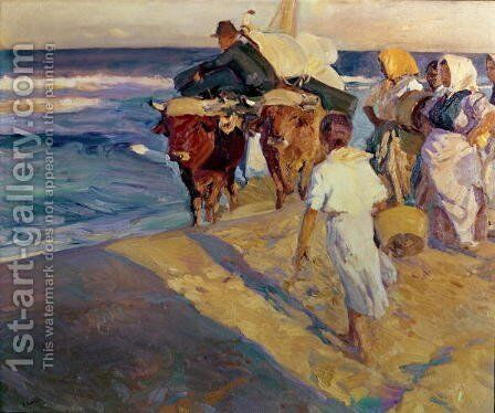 Towing in the boat, Valencia Beach, 1916 by Joaquin Sorolla y Bastida - Reproduction Oil Painting