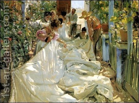 Mending the Sail, 1896 by Joaquin Sorolla y Bastida - Reproduction Oil Painting