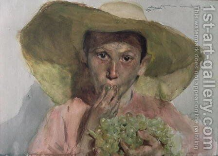 Boy Eating Grapes, 1890 by Joaquin Sorolla y Bastida - Reproduction Oil Painting