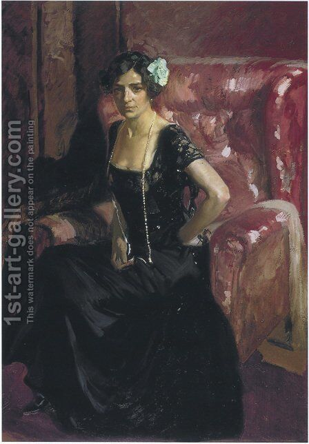 Clotilde in an Evening Dress, 1910 by Joaquin Sorolla y Bastida - Reproduction Oil Painting