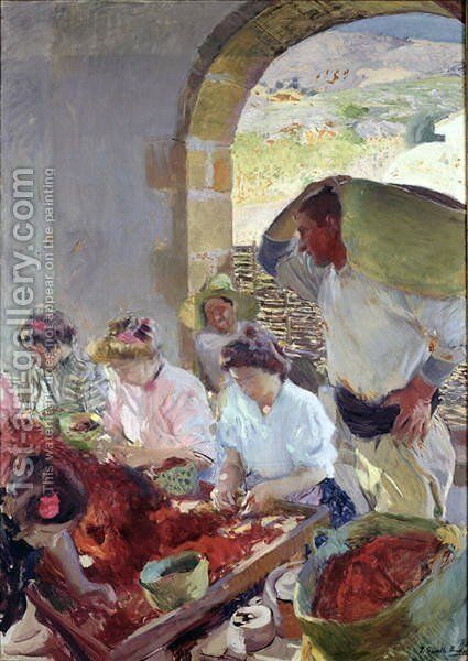 Preparing the Dry Grapes, 1890 by Joaquin Sorolla y Bastida - Reproduction Oil Painting
