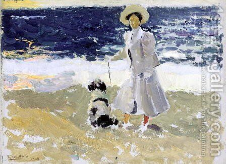 Lady and Dog on the Beach, 1906 by Joaquin Sorolla y Bastida - Reproduction Oil Painting