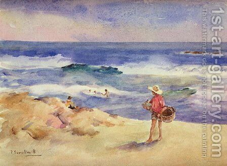 Boy on the Sand by Joaquin Sorolla y Bastida - Reproduction Oil Painting