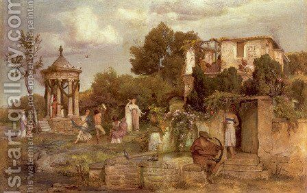 A Tavern in Ancient Rome 1867-68 by Arnold Böcklin - Reproduction Oil Painting