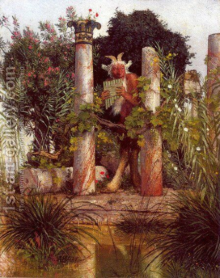 Idyll (Pan Amidst Columns) 1875 by Arnold Böcklin - Reproduction Oil Painting