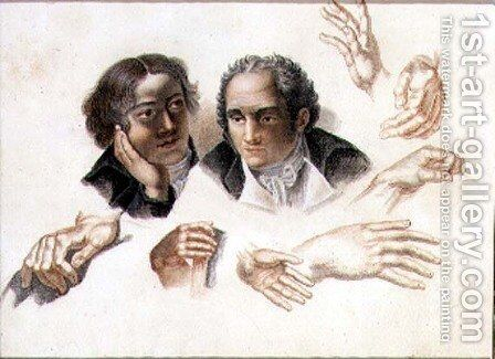 Studies of two gentleman's heads and hands, 1815 by Abraham Constantin - Reproduction Oil Painting