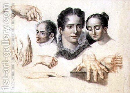 Studies of female and male heads and hands, 1815 by Abraham Constantin - Reproduction Oil Painting