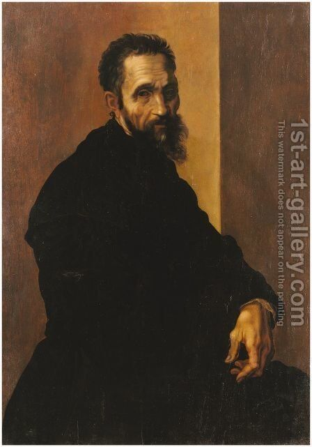 Portrait of Michelangelo c.1535 by Jacopino del Conte - Reproduction Oil Painting
