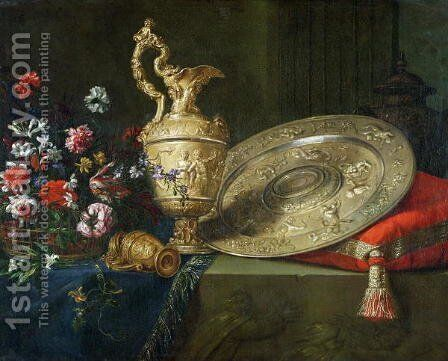 Still Life with a Gilded Ewer by Meiffren (Ephren) Conte (Leconte) - Reproduction Oil Painting
