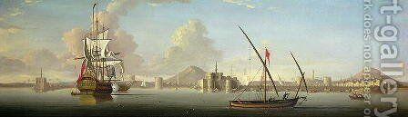 An Extensive View of the Port of Alexandria with a British Man OWar at Anchor by J. Cook - Reproduction Oil Painting