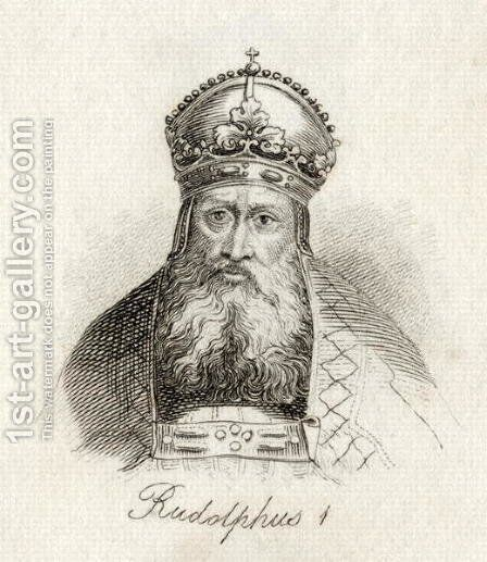 Rudolf I of Germany (Rudolfus (1218-91) King of the Holy Roman Empire) by J.W. Cook - Reproduction Oil Painting