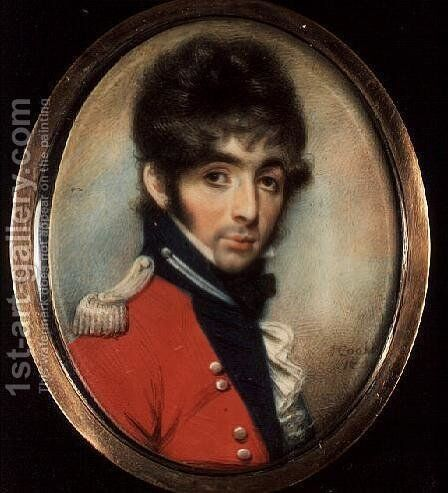 Miniature of an Unknown Officer by J. Cooke - Reproduction Oil Painting